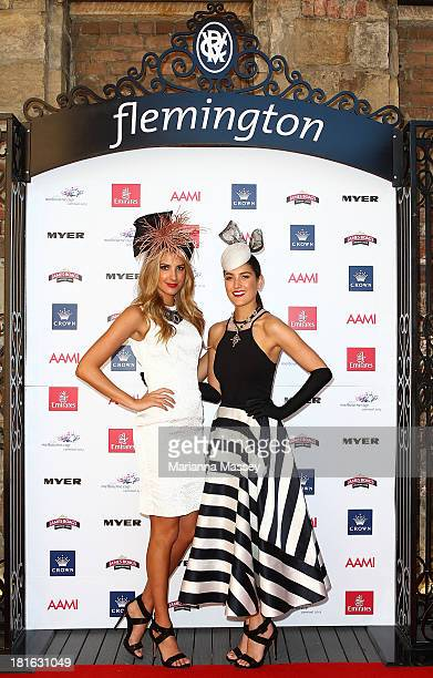 Laura Dundovic and Rebecca Bramich during the Melbourne Cup Carnival Spring Fashion Moment at The Mint Cafe on September 23 2013 in Sydney Australia