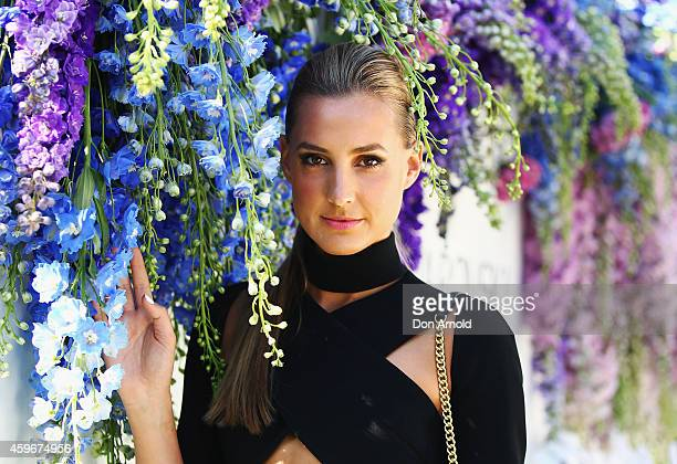 Laura Dundovic arrives at Swarovski garden party launch collection at The Royal Botanic Gardens on November 28 2014 in Sydney Australia