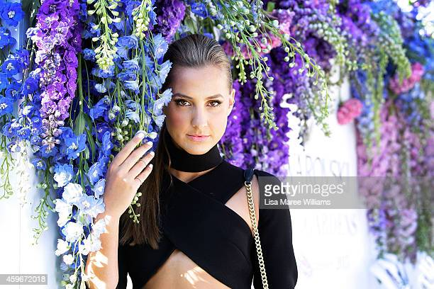 Laura Dundovic arrives at the Swarovski atelier collection garden party launch at The Royal Botanic Gardens on November 28 2014 in Sydney Australia