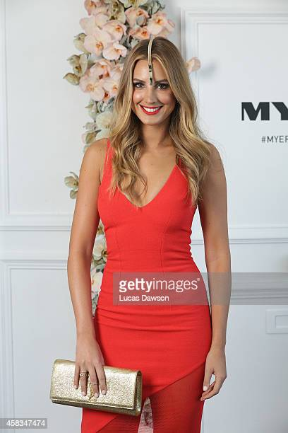 Laura Dundovic at the Myer Marquee on Melbourne Cup Day at Flemington Racecourse on November 4 2014 in Melbourne Australia