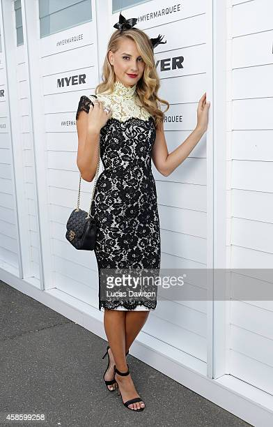 Laura Dundovic at the Myer Marquee on Stakes Day at Flemington Racecourse on November 8 2014 in Melbourne Australia