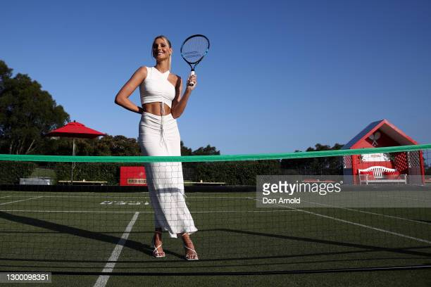 Laura Dundovic attends the launch of the Piper-Heidsieck Champagne Garden at The Greens on February 03, 2021 in Sydney, Australia.