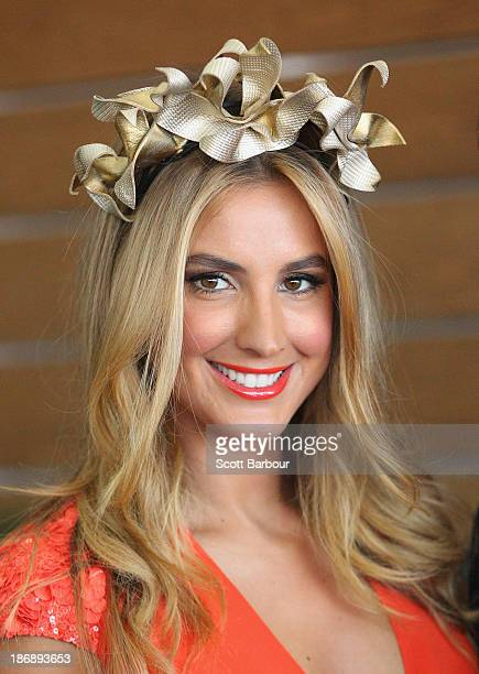 Laura Dundovic attends the Myer marquee during Melbourne Cup Day at Flemington Racecourse on November 5 2013 in Melbourne Australia
