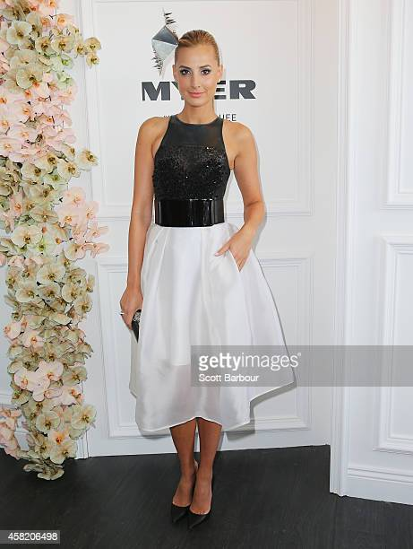 Laura Dundovic attends the Myer Marquee on Derby Day at Flemington Racecourse on November 1 2014 in Melbourne Australia