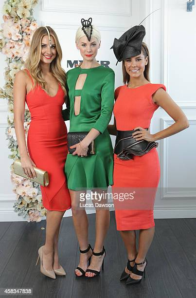 Laura Dundovic Kate Pec and Lauren Phillips at the Myer Marquee on Melbourne Cup Day at Flemington Racecourse on November 4 2014 in Melbourne...