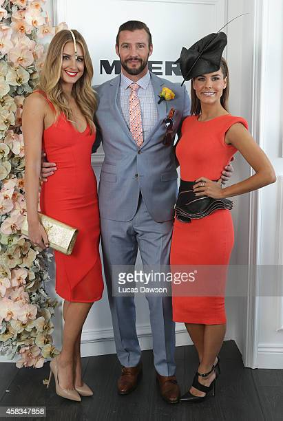 Laura Dundovic Kris Smith and Lauren Phillips at the Myer Marquee on Melbourne Cup Day at Flemington Racecourse on November 4 2014 in Melbourne...