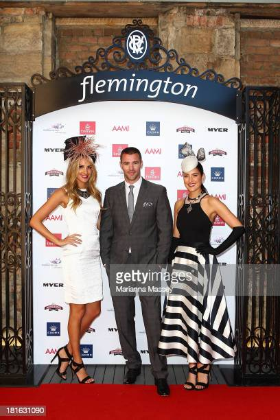 Laura Dundovic Kris Smith and Rebecca Bramich during the Melbourne Cup Carnival Spring Fashion Moment at The Mint Cafe on September 23 2013 in Sydney...