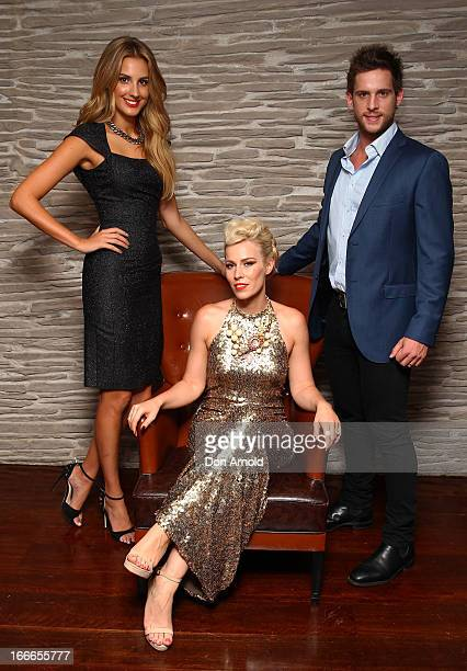 Laura Dundovic Natasha Bedingfield and Dan Ewing pose during the 2013 Australian Hair Fashion Awards after party at Doltone House on April 15 2013 in...