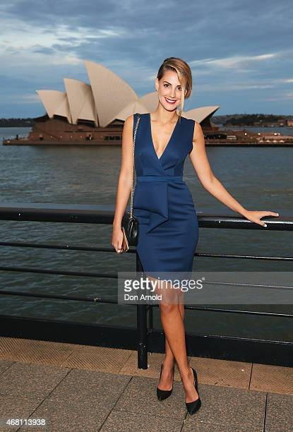 Laura Dundovic poses at the launch of the Samsung Galaxy S6 and S6 edge on March 30 2015 in Sydney Australia