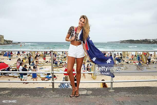 Laura Dundovic poses during the Havaianas Australia Day Thong Challenge at Bondi Beach on January 26 2015 in Sydney Australia