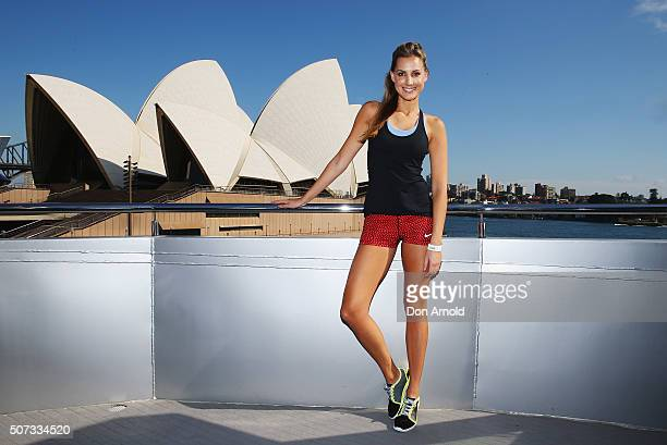 Laura Dundovic poses during the Nike NTC Tour Launch on Syndey Harbour on January 29 2016 in Sydney Australia