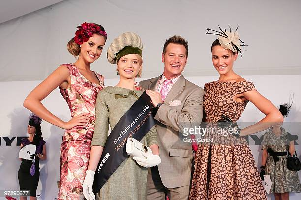 Laura Dundovic with Fashions on the Field winner Stephanie Meneve Richard Reid and Rachael Finch pose at Myer Ladies Day as part of the Golden...