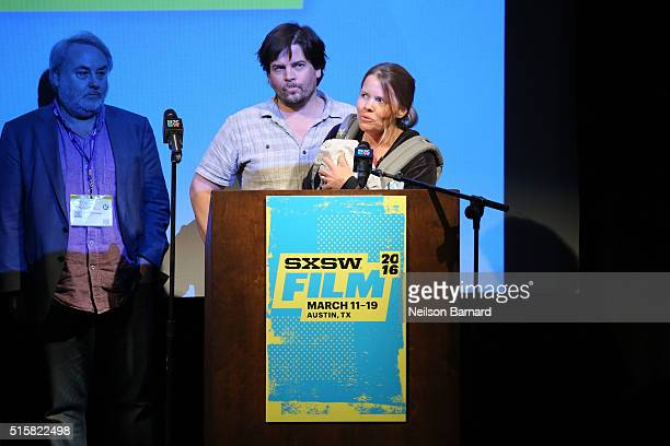 Laura Dunn and Geoff Sewell accept the award for Special Jury Recognition for Cinematography for The Seer at the SXSW Film Awards Presented by...