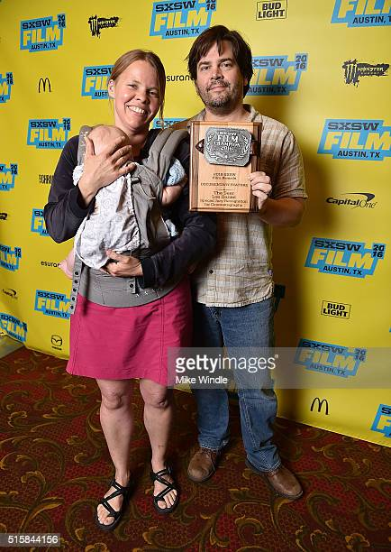 Laura Dunn and Geoff Sewell pose after accepting the award for Special Jury Recognition for Cinematography for 'The Seer' during the SXSW Film Awards...