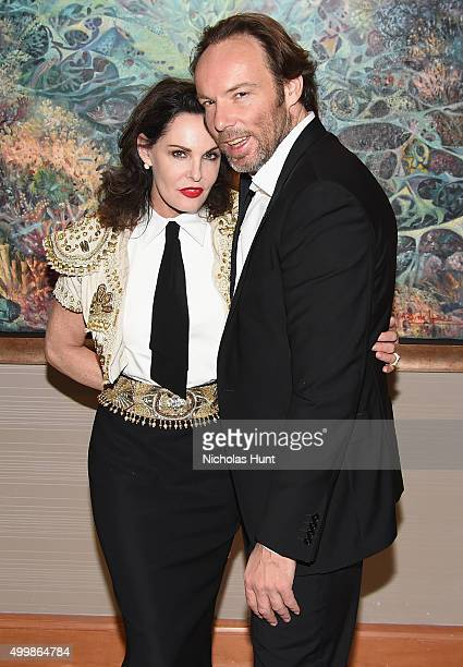 Laura Eastwood and Johann Christian Schiessl attend Antonio Dominguez de Haro Showcases Artwork At Four Seasons Hotel Miami During Art Basel 2015 at...