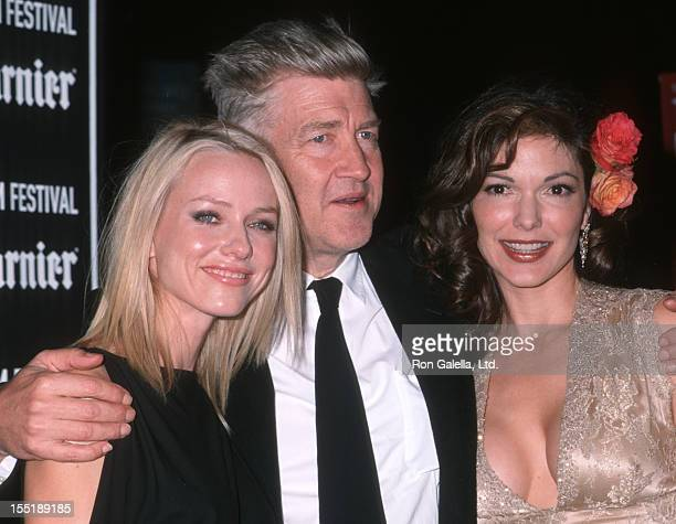 Laura Elena Harring director David Lynch and Naomi Watts attend the screening of Mulholland Drive on October 6 2001 at Alice Tully Hall at Lincoln...