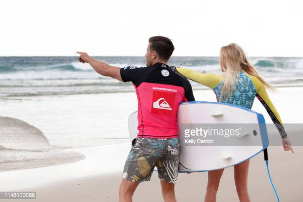 Laura Enever of Australia competing in the 2014 Roxy Pro Gold Coast at Snapper Rocks QLD Australia During a layday Enever gave TV Presenter James...