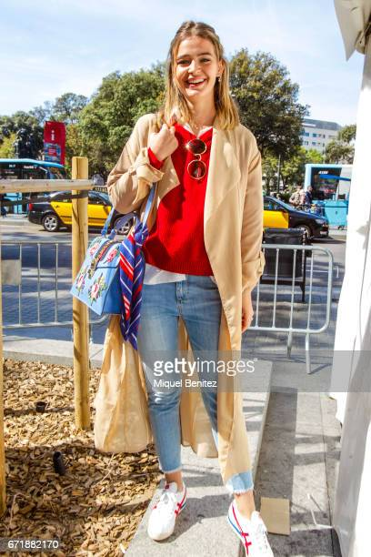 Laura Escanes poses during 'Sant Jordi's Day' 'Saint George's Day' at Plaa Catalunya on April 23 2017 in Barcelona Spain