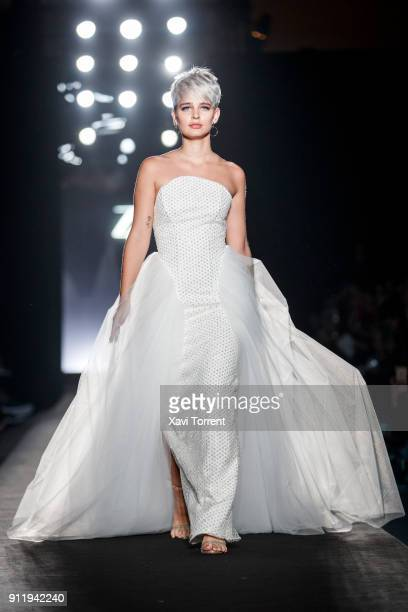 Laura Escanes walks the runway at the Ze Garcia show during the Barcelona 080 Fashion Week on January 29 2018 in Barcelona Spain