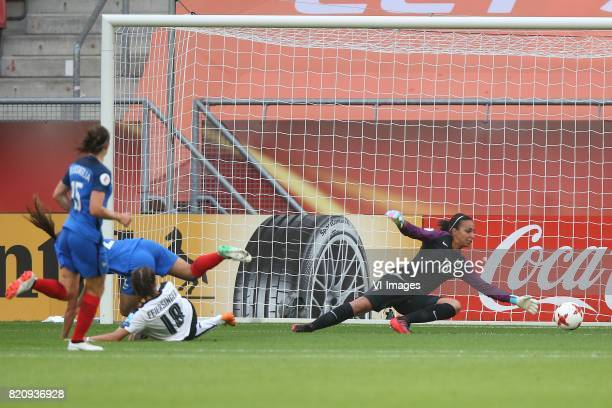 Laura Feiersinger of Austria women goalkeeper Sarah Bouhaddi of France women during the UEFA WEURO 2017 Group C group stage match between France and...
