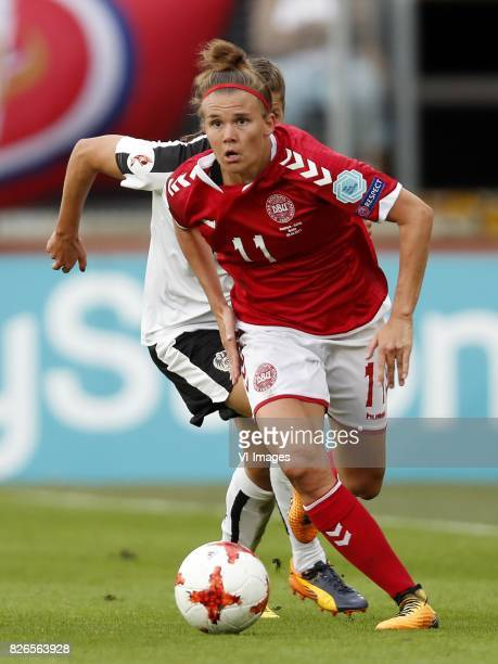Laura Feiersinger of Austria women Katrine Veje of Denmark during the UEFA WEURO 2017 semifinal match between Denmark and Austria at the Rat Verlegh...