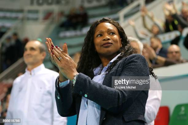 Laura Flessel french Minister of Sports during the CEV Challenge Cup match between Tours and Olympiacos Piraeus on December 19 2017 in Tours France