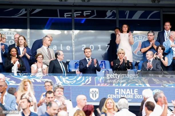 Laura Flessel french minister sport Noel Le Graet president french federation and Emmanuel Macron french president with his wife Brigitte and Gerard...