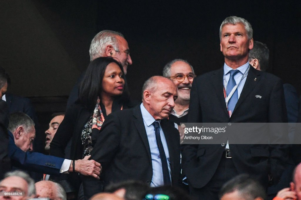 Laura Flessel sports minister and Gerard Collomb during the Europa League Final match between Marseille and Atletico Madrid at Groupama Stadium on May 16, 2018 in Lyon, France.