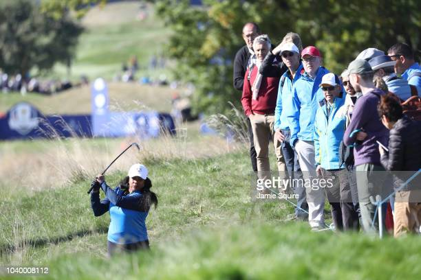 Laura FlesselColovic of Team Europe plays a shot during the celebrity challenge match ahead of the 2018 Ryder Cup at Le Golf National on September 25...