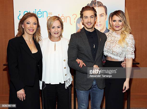 Laura Flores Carmen Cecilia Urbaneja Eugenio Siller and Kimberly Dos Ramos are seen at the premier of Telemundo's Quien es Quien at the Four Seasons...