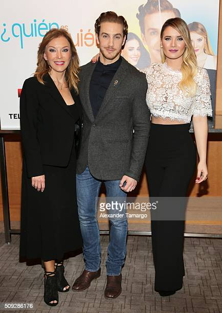 Laura Flores Eugenio Siller and Kimberly Dos Ramos are seen at the premier of Telemundo's Quien es Quien at the Four Seasons on February 9 2016 in...
