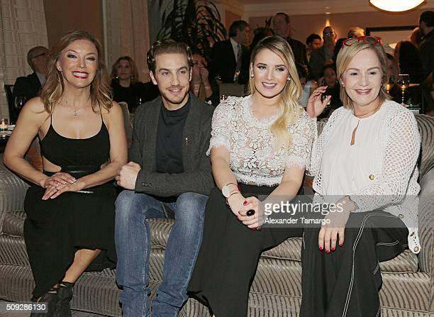 Laura Flores Eugenio Siller Kimberly Dos Ramos and Carmen Cecilia Urbaneja are seen at the premier of Telemundo's Quien es Quien at the Four Seasons...