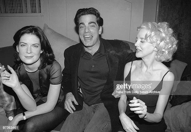 Laura Flynn Boyle Peter Gallagher and Anna Thomson get together at a rap party at Club Expo after finishing the movie 'Cafe Society' Boyle and...