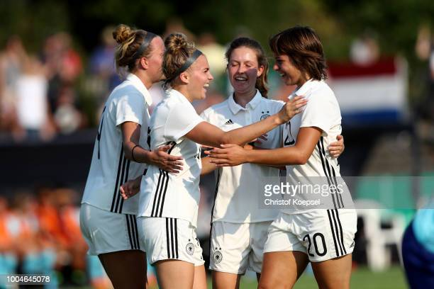 Laura Freigang celebrates the first goal with Jana Feldkamp and Lena Sophie Oberdorf during the friendly match between Germany U20 Girl's and the...