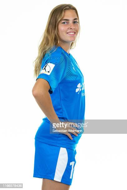 Laura Freigang of 1 FFC Frankfurt poses during the Women's Team Presentation at Stadion am Brentanobad on August 06 2019 in Frankfurt am Main Germany
