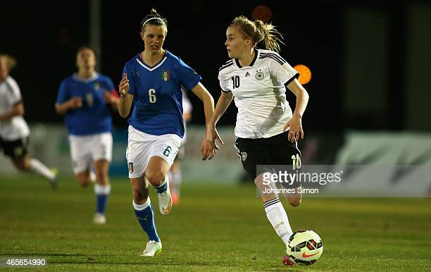 Laura Freigang of Germany and Ambra Pochero of Italy fight for the ball during the women's U19 international friendly match between Germany and Italy...