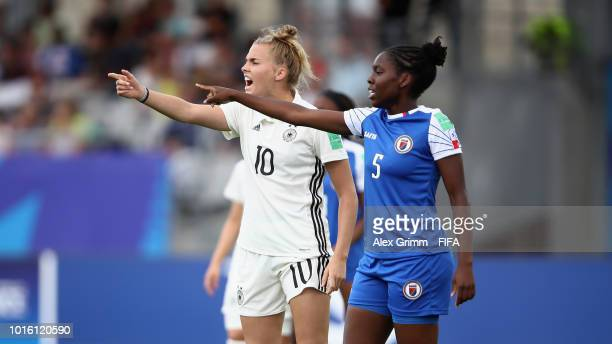 Laura Freigang of Germany and Danielle Darius of Haiti react during the FIFA U20 Women's World Cup France 2018 group D match between Germany and...