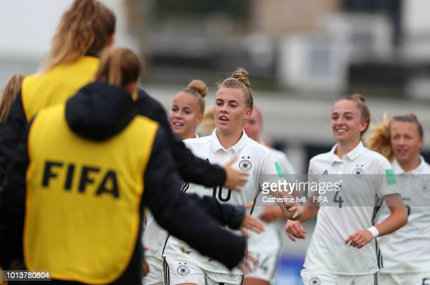 Laura Freigang of Germany celebrates after scoring her sides second goal during the FIFA U20 Women's World Cup France 2018 group D match between...