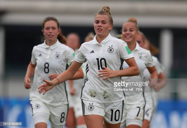The tournament logo during the FIFA U20 Women's World Cup France 2018 group D match between China PR and Germany at on August 9 2018 in SaintMalo...