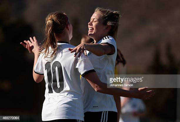 Laura Freigang of Germany celebrates after scoring her team's 2nd goal with team mate Nina Ehegoetz during the women's U19 international friendly...