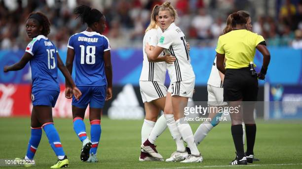 Laura Freigang of Germany celebrates her team's first goal during the FIFA U20 Women's World Cup France 2018 group D match between Germany and Haiti...
