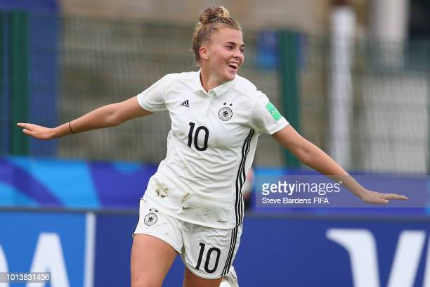 Laura Freigang of Germany celebrates scoring a goal during the FIFA U20 Women's World Cup France 2018 group D match between Germany and China PR at...