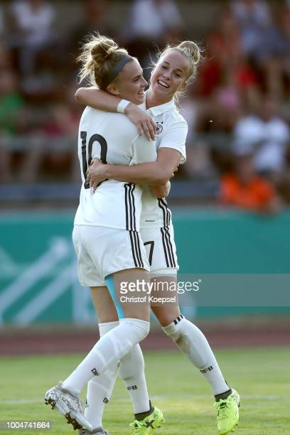 Laura Freigang of Germany celebrates the fifth goal with Giulia Gwinn during the friendly match between Germany U20 Girl's and the Netherlands at...