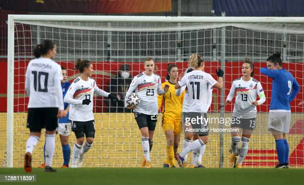 Laura Freigang of Germany celebrates with her team mates after scoring her hatrick goal and her sides fourth goal during the UEFA Women's EURO 2022...