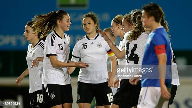Laura Freigang of Germany celebrates with team mates after scoring her team's third goal during the women's U19 international friendly match between...