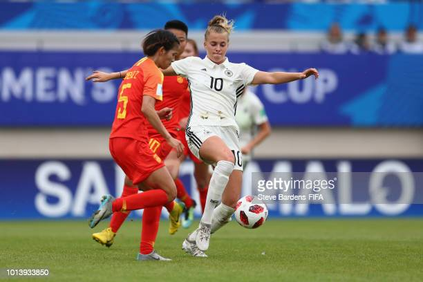 Laura Freigang of Germany in action during the FIFA U20 Women's World Cup France 2018 group D match between Germany and China PR at Stade de Marville...