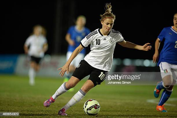 Laura Freigang of Germany in action during the women's U19 international friendly match between Germany and Italy on March 7 2015 in La Manga Spain