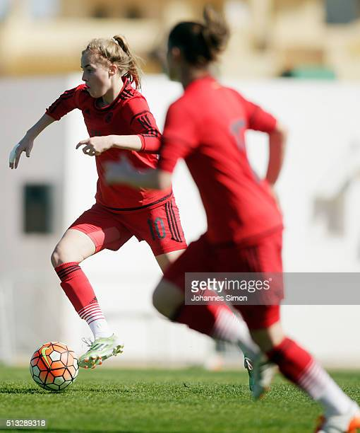 Laura Freigang of Germany in action during the women's U23 international friendly match between England and Germany on March 2 2016 in La Manga Spain