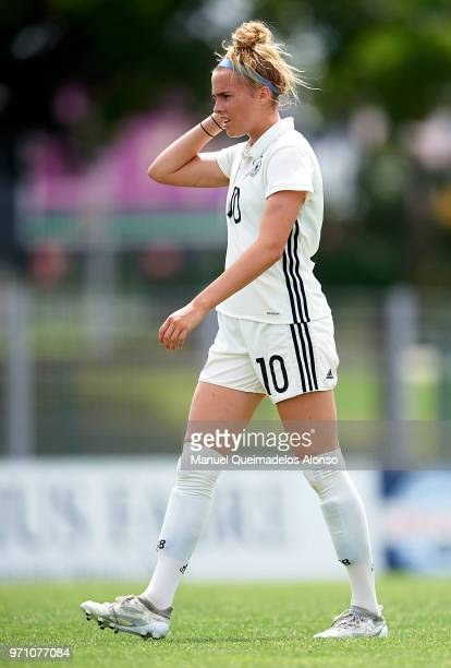 Laura Freigang of Germany looks on during the Four Nations Tournament match between U20 Women's Haiti and U20 Women's Germany at Stade Marcel Roustan...