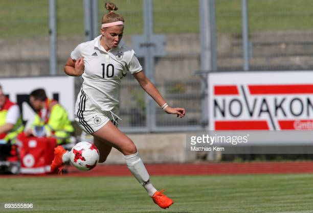 Laura Freigang of Germany runs with the ball during the U19 women's elite round match between Germany and Iceland at Friedensstadion on June 7 2017...